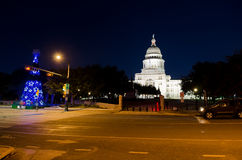 Texas State Capitol-de bouw bij nacht Stock Foto