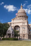 Texas State Capitol with Heroes of the Alamo Monument in Austin,  TX Stock Photography