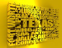 Texas state cities list. Image relative to USA travel. Texas cities and places names cloud. 3D rendering stock photos