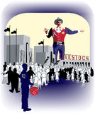 Texas State Fair with Big Tex. And livestock showing stock illustration