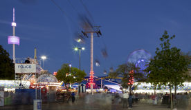 Texas State Fair. In Dallas. Long exposure with motion blur on rides and people royalty free stock image