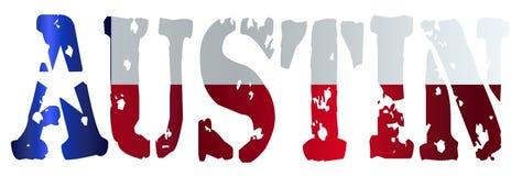 Texas State Flag As Austin-Tekst stock illustratie