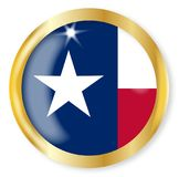 Texas Flag Button. Texas state flag button with a gold metal circular border over a white background Royalty Free Stock Photo