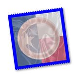 Texas State Flag Condom. A condom with a Texas state flag pattern over a white background Royalty Free Stock Images