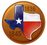 Texas State Flag Map Leather. Shiny dimensional representation of Texas flag and state map on a stitched leather seal with imprinted years of independence and Royalty Free Stock Photos