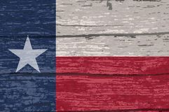 Texas State Flag On Old-Hout stock illustratie