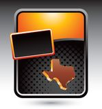 Texas state icon on orange stylized advertisement Stock Photos