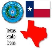 Texas State Icons. The seal of the United Steas of American state TEXAS with silhouette map and flag isolated on a white background Royalty Free Stock Photos