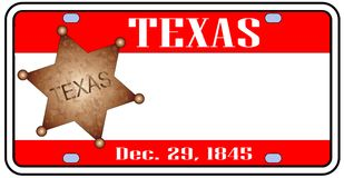 Texas State License Plate. In the colors of the state flag with the flag icons over a white background Royalty Free Stock Photography
