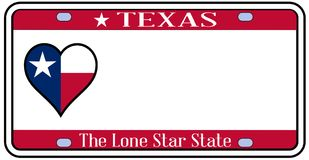 Texas State License Plate. In the colors of the state flag with icons over a white background Royalty Free Stock Photography