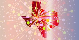 Texas State Map Abstract Celebration. A map the state of Texas in silhouette with a bright abstract background Stock Photo