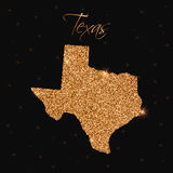 Texas state map filled with golden glitter. Royalty Free Stock Images