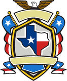 Texas State Map Flag Coat of Arms Retro. Illustration of coat of arms style emblem of Texas state map draped in its state flag with american eagle up on top and Royalty Free Stock Photo