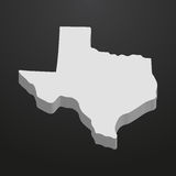 Texas State map in gray on a black background 3d Stock Image