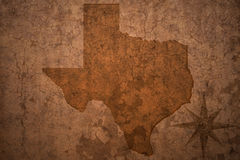 Texas state map on a old  crack paper background Royalty Free Stock Image