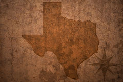 Texas state map on a old vintage paper background. Texas state map on a old vintage crack paper background royalty free stock photography