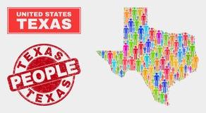 Texas State Map Population Demographics e selo do Grunge ilustração stock