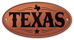 Texas State Map Star Leather Stock Image