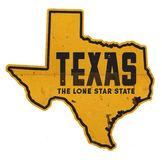 Texas State Outline Tin Sign Street The Lone Star State. Grunge metal road highway welcome entering royalty free illustration