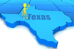 Texas state outline with yellow stick figure Royalty Free Stock Photos