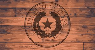 Texas State Seal Brand. Ed onto wooden planks Royalty Free Stock Images