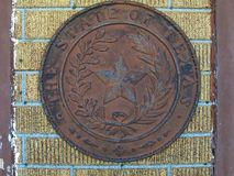 Texas State Seal On eine Wand Lizenzfreies Stockbild