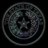 Texas State Seal In Neon illustration libre de droits