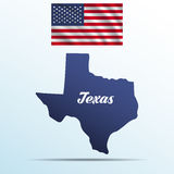 Texas state with shadow with USA waving flag Royalty Free Stock Images