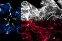 Texas state smoke flag, United States Of America. On a black background royalty free stock image
