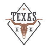 Texas state tee print with longhorn skull. Stock Photos