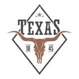 Texas state tee print with longhorn skull. Stock Photos