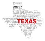Texas State Word Cloud. A Texas mapt shape with the text TEXAS and the names of the major texas cities over a white background Royalty Free Stock Images