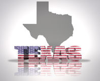 Texas State. Word Texas with National Flag of USA near map State Royalty Free Stock Photo