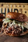 Texas Style BBQ dragen grisköttsmörgås Arkivfoto