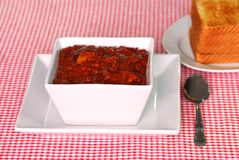 Texas style chili with toast royalty free stock images