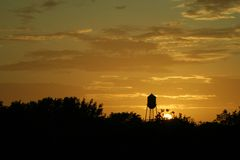 Texas Sunset And Water Tower Royalty Free Stock Image