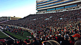 Texas Tech Football Stadium - Lubbock bij Schemer Royalty-vrije Stock Foto