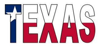 Texas Text Flag vektor illustrationer