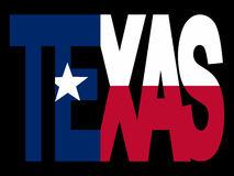 Texas Text With Flag. Overlapping Texas text with their flag illustration Stock Images