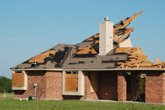 Texas Tornado - Destroyed House. A tornado destroyed many homes in the Bent Tree neighborhood south of Royse City, Texas on April 3, 2012. Sky can be seen in Stock Images