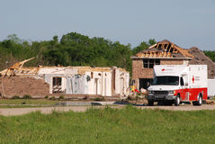 Texas Tornado - Red Cross. The American Red Cross responds to the emergency caused by a spring tornado. Many homes were destroyed in the Bent Tree neighborhood Royalty Free Stock Photography