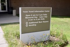 Texas Travel Information Center Sign images stock