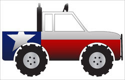 Texas Truck. A 4x4 truck with a Texas flag design  on a white background Royalty Free Stock Photos
