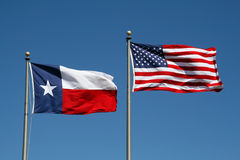 Texas and US Flag stock images