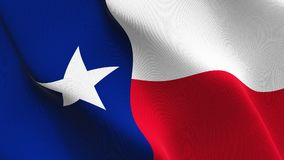 Texas US State flag waving on wind. United States of America Texas background fullscreen flag blowing on wind. Realistic fabric texture on windy day Stock Photo