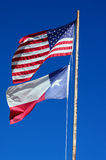 Texas and USA Flag Stock Images