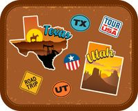 Texas, Utah travel stickers with scenic attractions. And retro text on vintage suitcase background Stock Photography