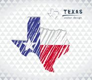 Texas vector map with flag inside isolated on a white background. Sketch chalk hand drawn illustration. Vector sketch map of Texas with flag, hand drawn chalk royalty free illustration