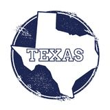 Texas vector map. Grunge rubber stamp with the name and map of Texas, vector illustration. Can be used as insignia, logotype, label, sticker or badge of USA Stock Photo