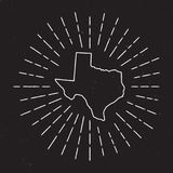 Texas Vector Map Outline with Vintage Sunburst. Stock Photo